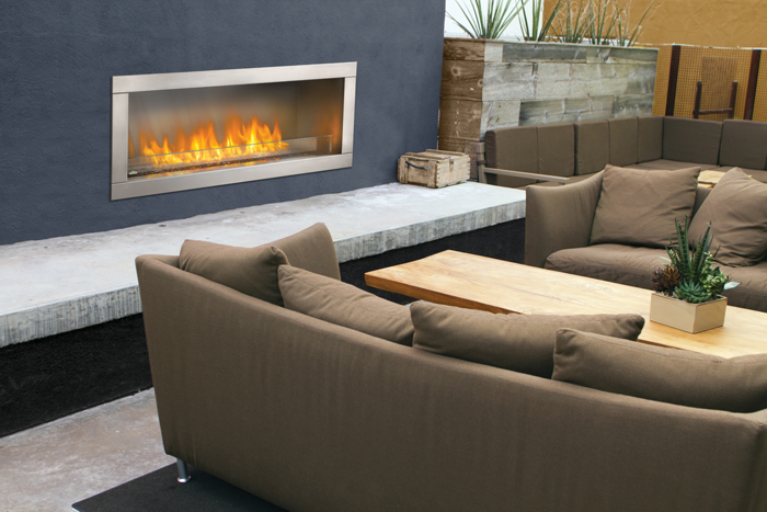 Napoleon Galaxy GSS48 Outdoor Gas Fireplace - GSS48 and GSS48ST are outdoor linear gas fireplaces as a single sided or see-thru fireplace