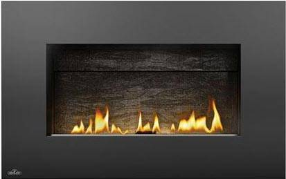 Image of Napoleon Plazmafire 31 WHD31NSB shown with Slate Brick Panel with Painted Black Rectangular Surround
