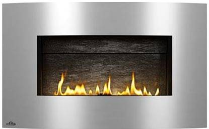 Image of Napoleon Plazmafire 31 WHD31NSB shown with Slate Brick Panel with Brushed Stainless Steel Convex Surround
