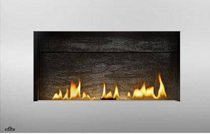 Image of Napoleon Plazmafire 31 WHD31NSB shown with Slate Brick Panel with Stainless Steel Rectangular Surround