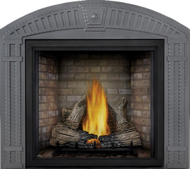 TALL FLAME PHAZER® Log Set, Newport™ Panel, Arched Surround