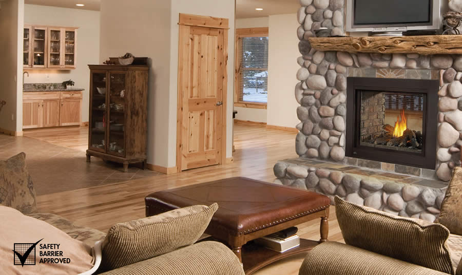 Image of Napoleon Ascent Multi-View BHD4 See-Thru model direct vent gas fireplace with log set shown in living room
