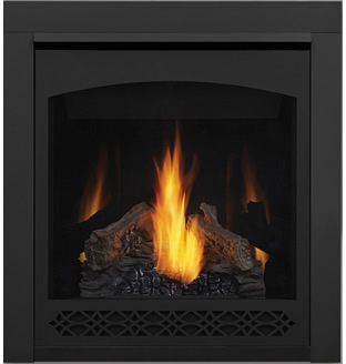 Napoleon Ascent 30 B30 shown with MIRRO-FLAME™ Porcelain Reflective Radiant Panels, Heritage Front, 3-inch Trim Kit, PHAZER® Logs