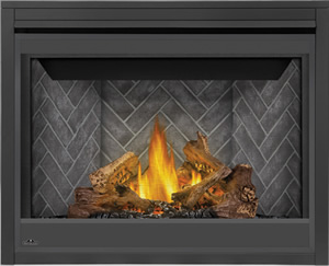 Napoleon Ascent 42 shown with Westminster Brick Herringbone Panels, PHAZER® Logs