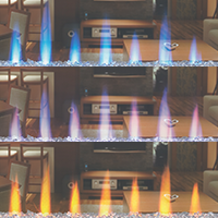 Image of CLEARion flame color options: Orange, Multi-colored, Blue