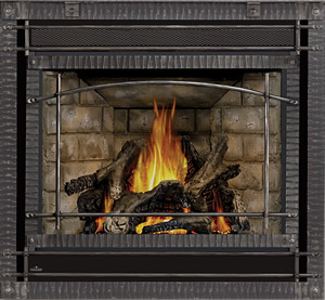 Ascent X 70 shown with Newport™ Brick Panels, Scalloped Wrought Iront Front, PHAZER® Logs