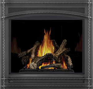 Napoleon Ascent X 70 shown with MIRRO-FLAME™ Porcelain Reflective Radiant Panels, Wrought Iron Front, PHAZER® Logs