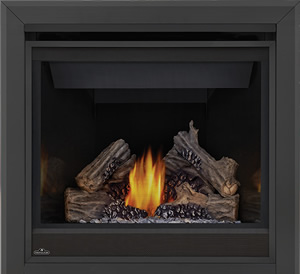 Ascent 36 shown with MIRRO-FLAME™ Porcelain Reflective Radiant Panels, 3-inch Beveled Trim, PHAZER® Logs