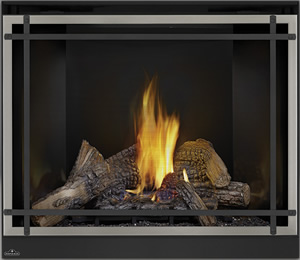PHAZER® Log Set, MIRRO-FLAME™ Porcelain Reflective Radiant Panels, Classic Resolution Front with Overlay in Brushed Nickel, with Black Straight Accent Bars, Standard Safety Screen