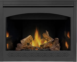 Napoleon Ascent 42 shown with MIRRO-FLAME Porcelain Radiant Reflective Panels, Heritage Front, PHAZER® Logs