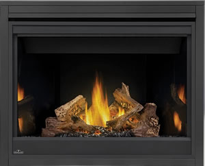 Napoleon Ascent 42 shown with MIRRO-FLAME Porcelain Radiant Reflective Panels, PHAZER® Logs