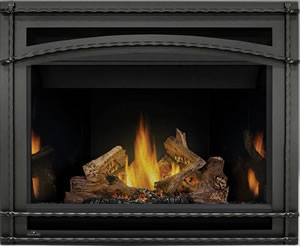 Napoleon Ascent 42 shown with MIRRO-FLAME Porcelain Radiant Reflective Panels, Wrought Iron Surround, PHAZER® Logs