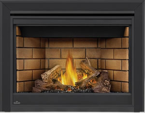 Napoleon Ascent 42 shown with Sandstone Panels, 3-inch Beveled Trim, PHAZER® Logs