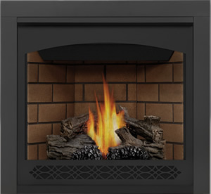 Napoleon Ascent 35 B35 shown with Sandstone Brick Panels, Heritage Front, 3-inch Trim Kit, PHAZER® Logs