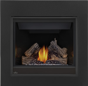 Ascent 36 shown with MIRRO-FLAME™ Porcelain Reflective Radiant Panels, Matte Black Clean Face Front, PHAZER® Logs