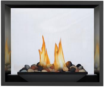 River Rock Media Burner, MIRRO-FLAME™ Porcelain Reflective Radiant Panels
