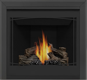 Napoleon Ascent 35 B35 shown with Zen Front, 3-inch Beveled Trim, PHAZER® Logs