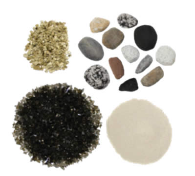 Optional shore fire kit including rocks, sand, vermiculite and glass