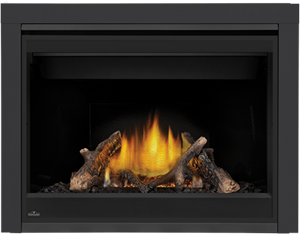 Napoleon Ascent X-42 GX42 shown with MIRRO-FLAME Porcelain Radiant Reflective Panels, Split Oak Logs, 3 inch Trim Kit