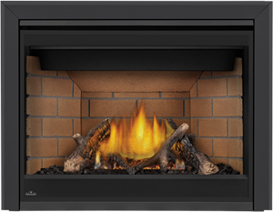 Napoleon Ascent X-42 GX42 shown with Sandstone Brick Panels, Premium Split Oak Logs, 3 Inch Beveled Trim