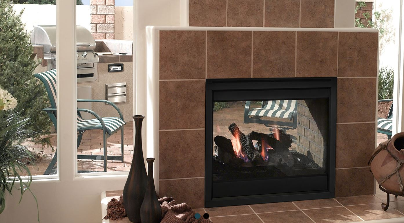 Outdoor Lifestyles Twilight II Indoor Outdoor Gas Fireplace Interior View