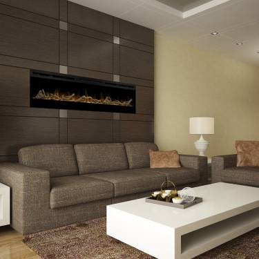 Dimplex Prism 74 with driftwood and river rock