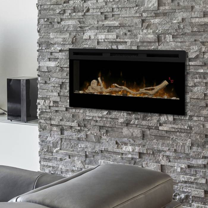 Dimplex Prism Series 34 with driftwood kit in living room