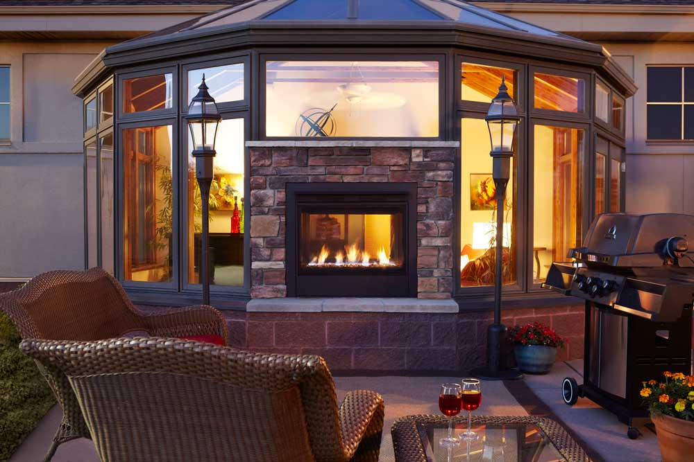 Outdoor Lifestyles Twilight Modern Indoor Outdoor Gas Fireplace Exterior View