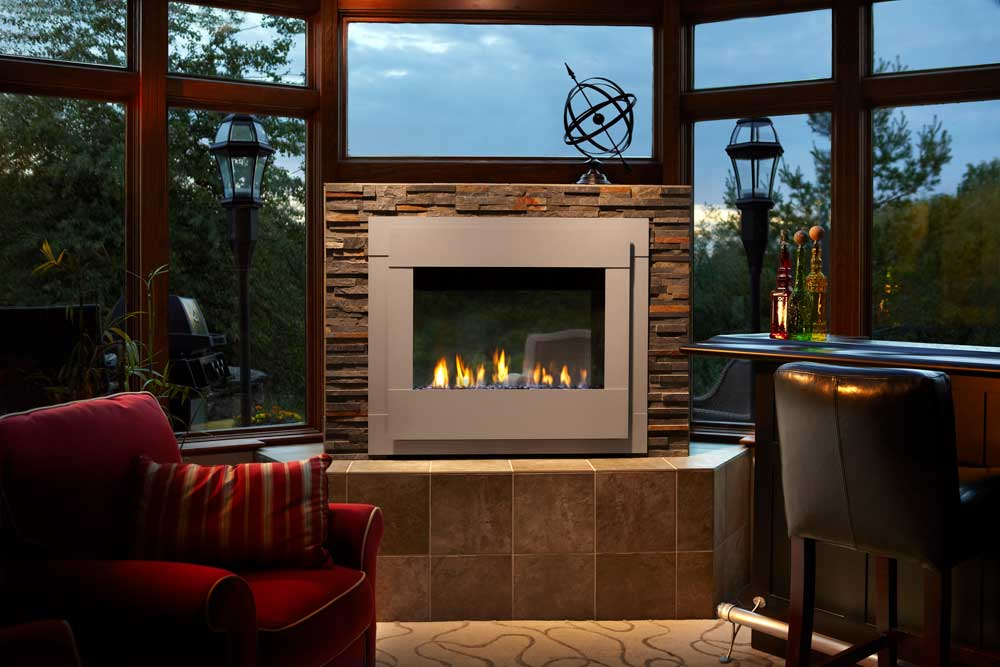 Outdoor Lifestyles Twilight Modern Indoor Outdoor Gas Fireplace Interior View