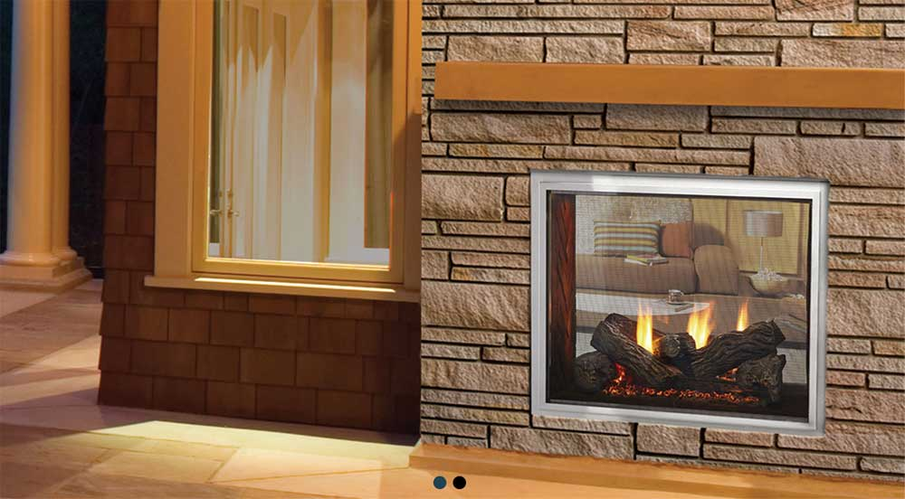 Outdoor Lifestyles Fortress Indoor Outdoor Gas Fireplace exterior view