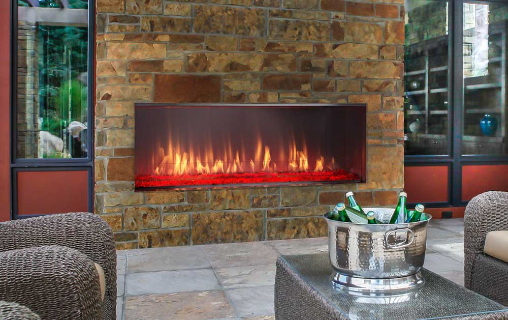 Outdoor Lifestyles Lanai Outdoor Linear Gas Fireplace