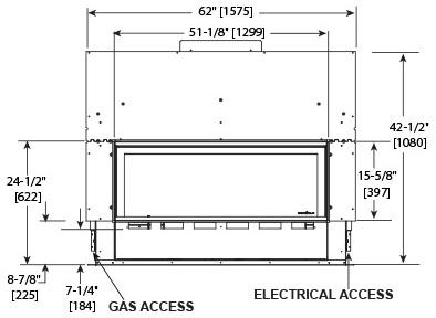 Echelon II 48 See-Through Front Dimensions ECHEL48STIN