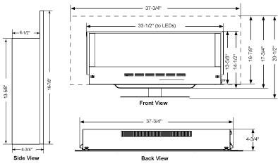SimpliFire Modern Wall-Mount 38 Dimensions SF-WMS38-BK