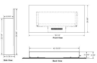 SimpliFire Modern Wall-Mount 58 Dimensions SF-WM58-BK