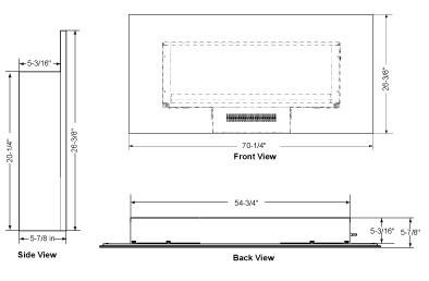 SimpliFire Modern Wall-Mount 70 Dimensions SF-WM70-BK