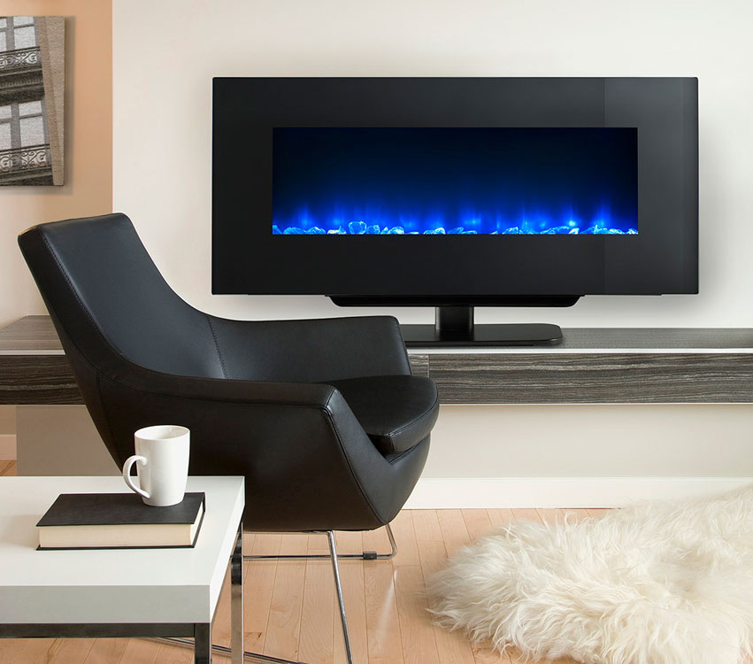 SimpliFire Modern Wall-Mount Electric Fireplace by Majestic shown with table top stand