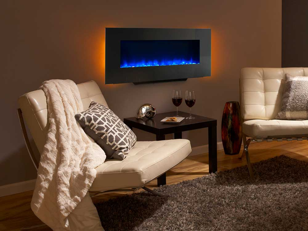 SimpliFire Modern Wall-Mount Electric Fireplace Blue Flame Amber Light