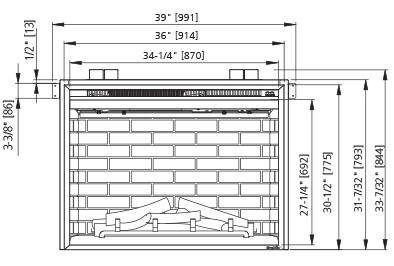 SimpliFire Built-In 36 Front Dimensions SF-BI30-EB