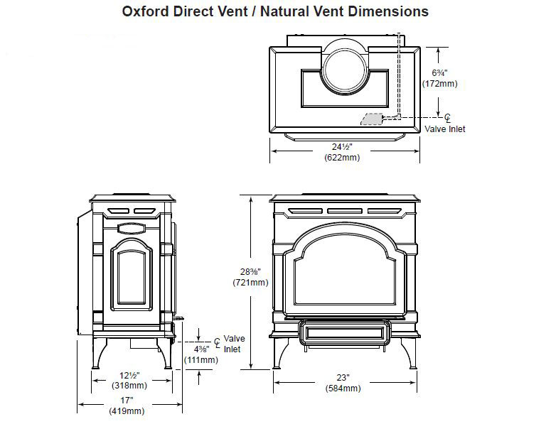 Majestic Oxford Direct Vent Gas Stove Dimensions