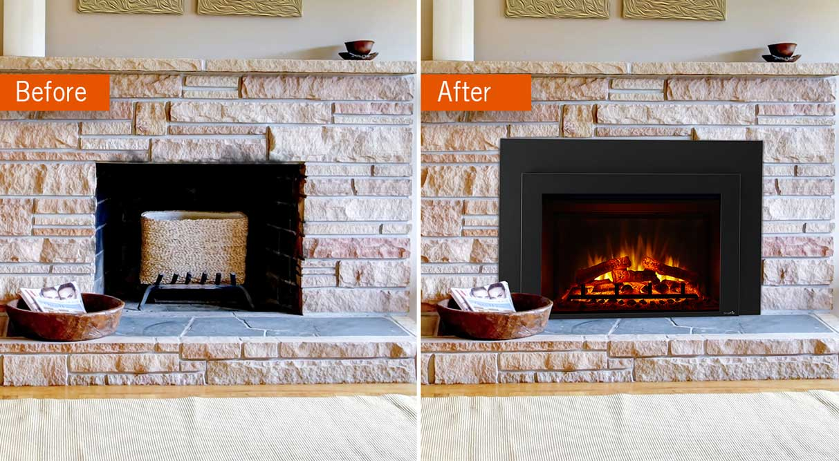 SimpliFire Electric Insert Before and After