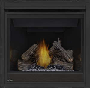 Ascent 36 shown with MIRRO-FLAME™ Porcelain Reflective Radiant Panels, PHAZER® Logs