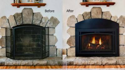 Before and after images with Majestic Ruby gas fireplace insert
