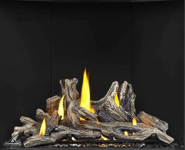 Driftwood Log Set DLKAX36 for Napoleon Altitude X AX36 shown with Porcelain Reflective Radiant Panels PRPAX36