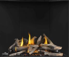 Maple Log Set MLKAX36 for Napoleon Altitude X AX36 shown with Porcelain Reflective Radiant Panels PRPAX36