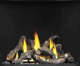 Split Oak Log Set OLKAX36 for Napoleon Altitude X AX36 shown with Porcelain Reflective Radiant Panels PRPAX36