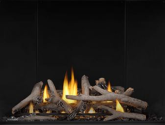Maple Log Set MLKAX42 for Napoleon Altitude X AX42 shown with Porcelain Reflective Radiant Panels PRPAX42
