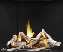 Birch Log Set BLKAX36 for Napoleon Altitude X AX36 shown with Porcelain Reflective Radiant Panels PRPAX36