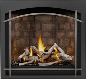 Image of Napoleon Altitude X AX36NTE gas fireplace shown with Birch log set, Newport brick panels, Whitney front with Antique Pewter Arched Iron Elements