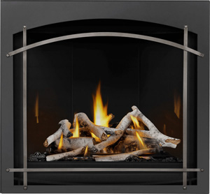 Image of Napoleon Altitude X 36 gas fireplace shown with Birch log set, Mirro-Flame Porcelain Radiant Reflective panels, Whitney front with Antique Pewter Arched Iron Elements