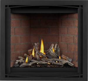 Image Napoleon Altitude X 36 direct vent gas fireplace shown with Driftwood log set, Old Town Red brick panels, Black Zen front AX36NTE